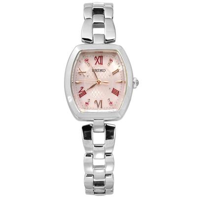 SEIKO 太陽能電波施華洛世奇晶鑽日本機芯不鏽鋼手錶-銀粉色/25mm