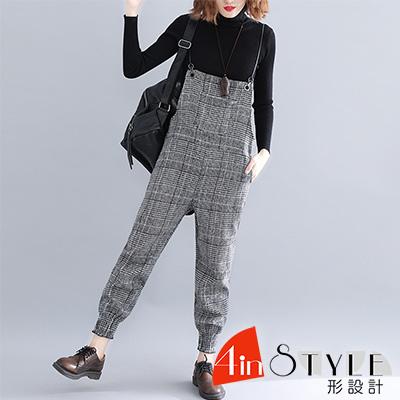 文藝復古格紋縮口吊帶長褲 (共二色)-4inSTYLE形設計