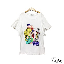 美式漫畫風荷葉袖上衣 TATA-F