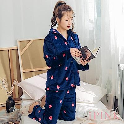 i PINK 冬日物語 法蘭絨排釦翻領居家服睡衣套裝(深藍草莓)