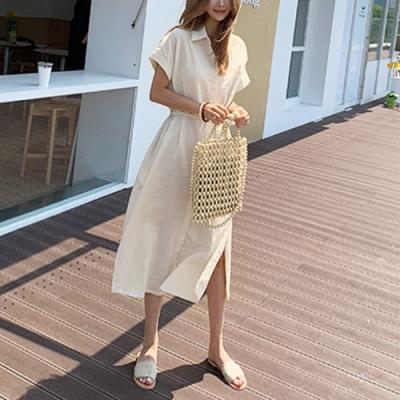 2F韓衣-簡約優雅素色開衩短袖造型洋裝-3色(F)