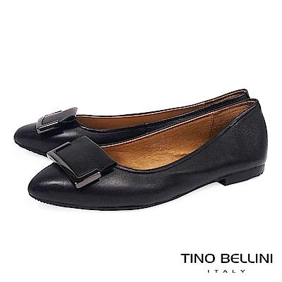 Tino Bellini 簡約皮革方釦舒足平底鞋 _ 黑