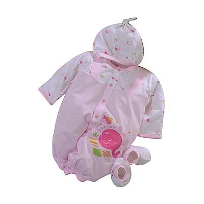 魔法Baby 薄款帽衣腳三件套純棉連身衣 b0154
