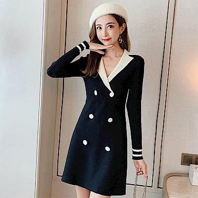 DABI 韓國小香學院風排釦拼接長袖洋裝