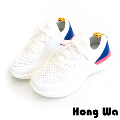 Hong Wa 透氣休閒‧編織布拼接牛皮綁帶小白鞋 - 白
