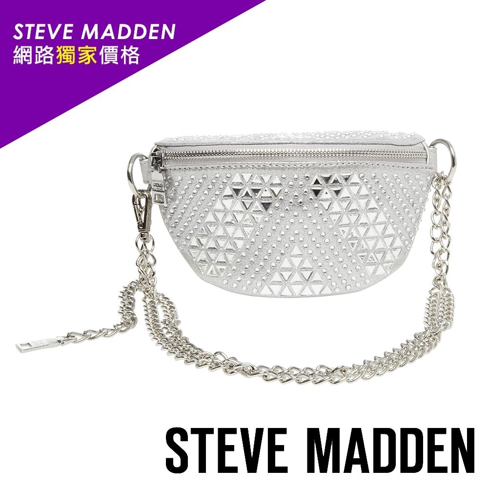 STEVE MADDEN-BMAXED 網路獨家價格 街頭風格貼飾水鑽金屬鍊條小腰包-銀色