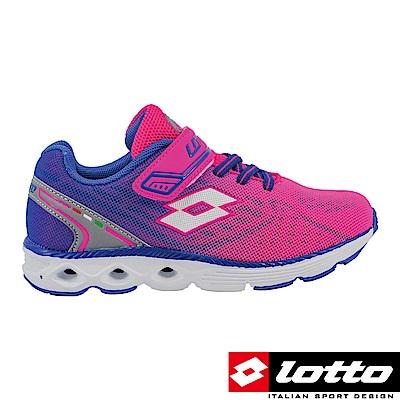 LOTTO 義大利 童 4D風動跑鞋(粉紅藍漸層)