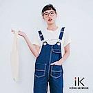 iK-金屬釦環丹寧反摺九分直筒吊帶褲