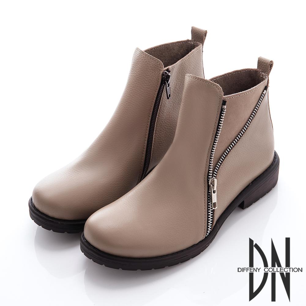 DN 輕時尚 雙拉鍊造型真皮短靴-卡其