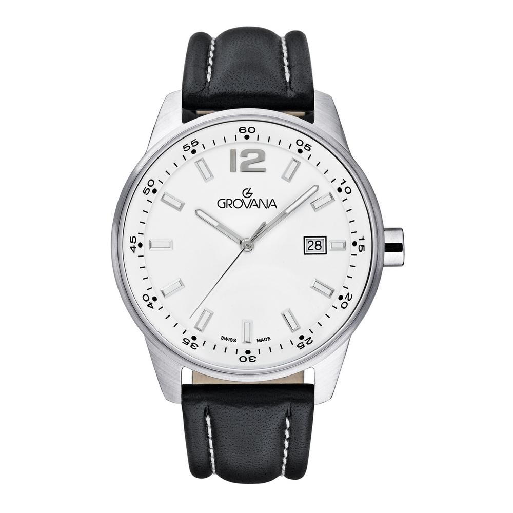 (福利品) GROVANA瑞士錶 當代系列石英男錶(7015.1533)-白面x黑色皮帶/41mm