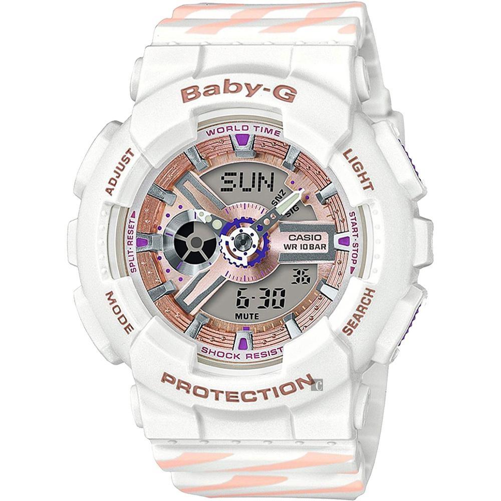 CASIO 卡西歐 Baby-G Chance 米蘭設計手錶-白 BA-110CH-7A