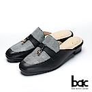 bac愛趣首爾-小方頭格紋異材質拼接粗跟後空穆勒鞋-黑