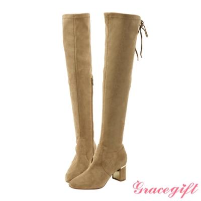 Grace gift-後繫帶金屬中跟膝上靴 杏
