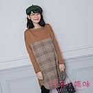 日系小媽咪孕婦裝-韓製孕婦裝~氣質款拼接格紋毛呢內刷毛洋裝 (共三色)