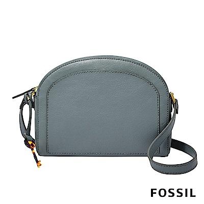 FOSSIL CHELSEA 半月型斜背包-灰藍色