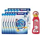 日本獅王LION 奈米樂超濃縮洗衣精補充包 12入 (淨白+抗菌) 贈 (即期品)衣領袖口去汙劑