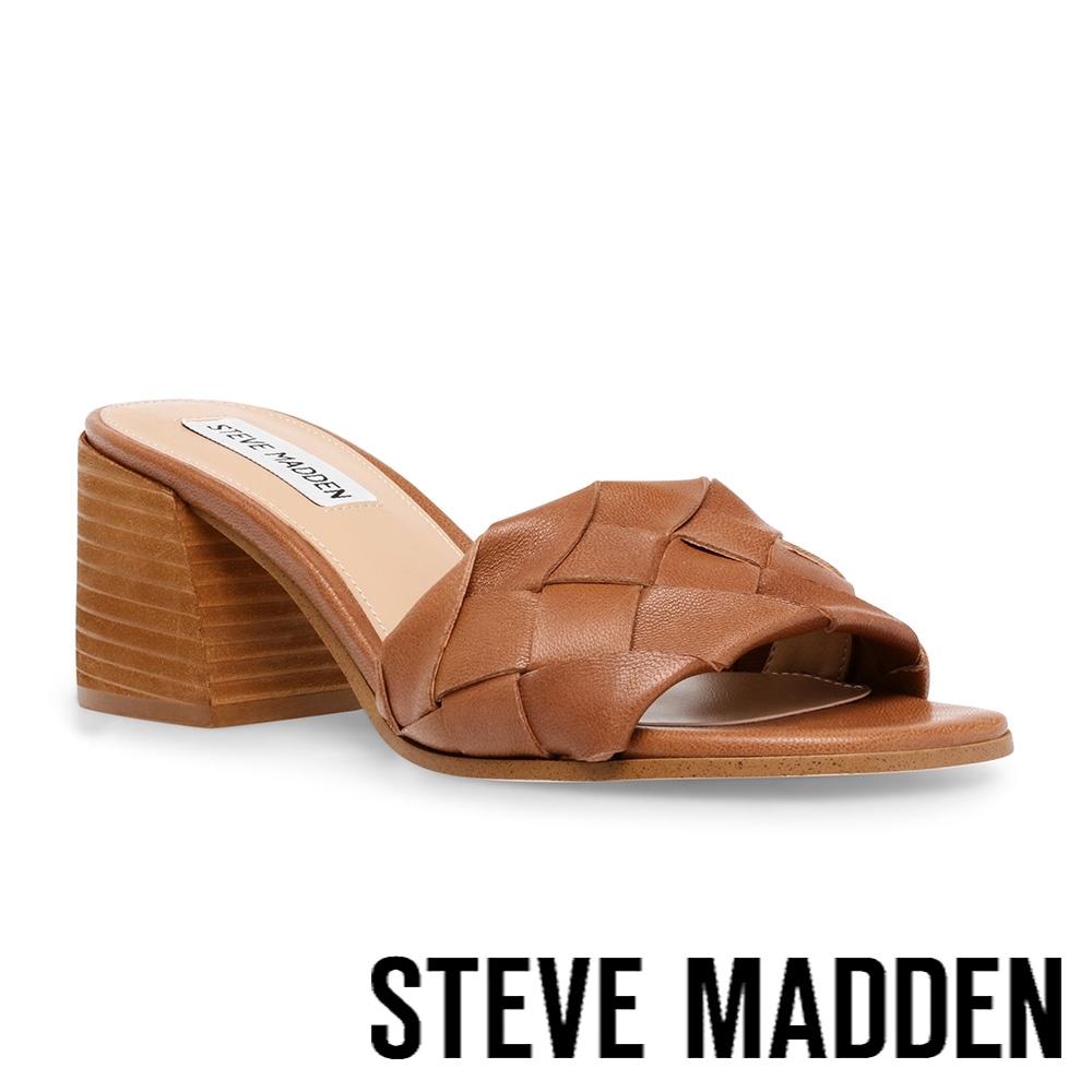 STEVE MADDEN-PHYSIQUE 編織復古粗跟涼拖鞋-咖啡色
