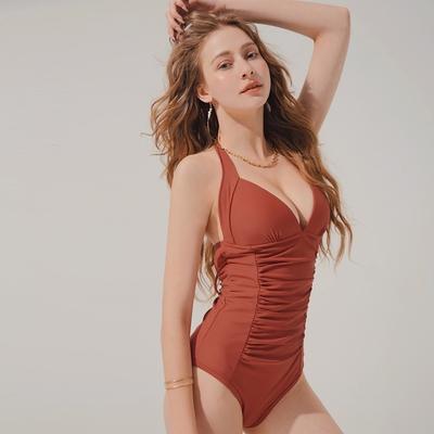 AIR SPACE 人間芭比塑腹寬帶包覆連身泳衣(厚杯加長款)(紅棕) 泳裝 連身 泳衣 中大尺碼