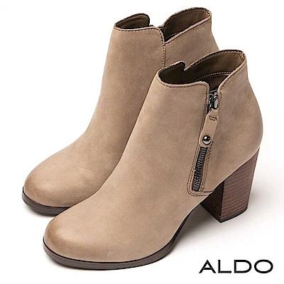 ALDO-原色真皮靴面拉鍊式木紋粗跟尖頭高跟短靴