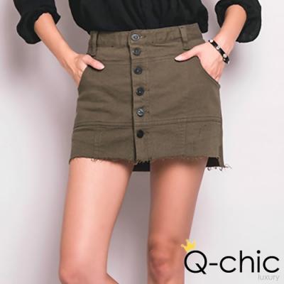 正韓 率性抽鬚排釦褲裙窄裙(黑色)-Q-chic