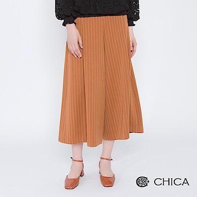 CHICA 城市女子直條紋釦飾波浪寬褲(2色)
