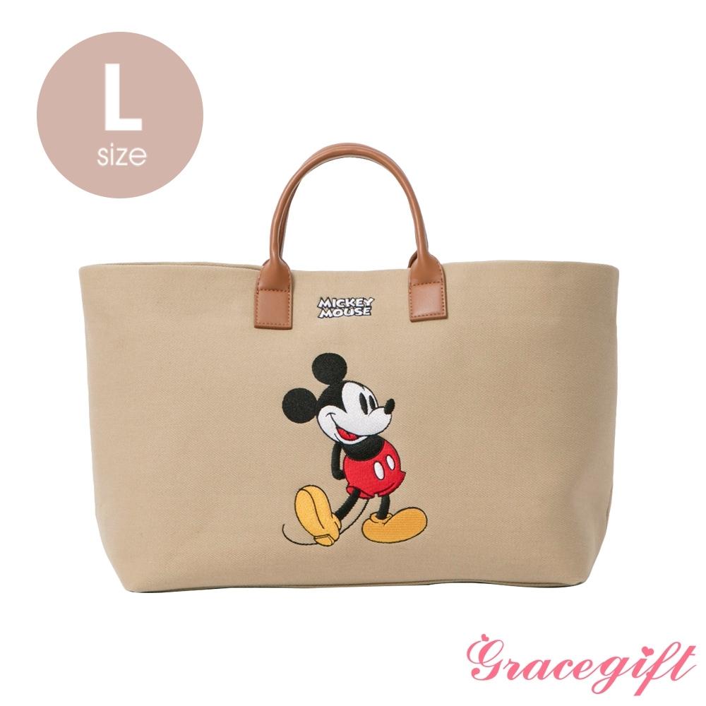 Disney collection by grace gift–唐葳設計迪士尼米奇2WAY帆布包L 奶茶色