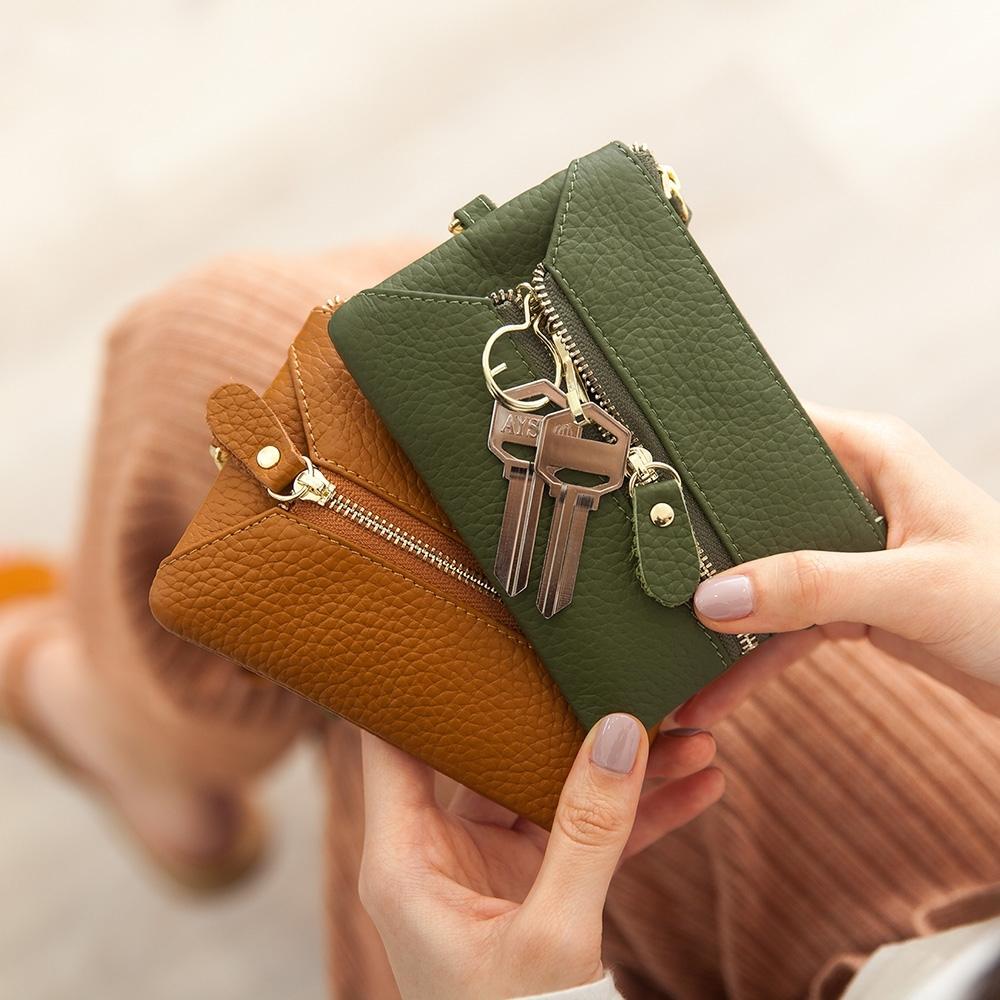CHENSON真皮 三夾層鑰匙包零錢包(送頸掛繩+手腕帶) 海松綠(W00158-G)