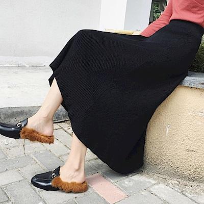 La Belleza素色坑條鬆緊腰大擺裙針織波浪長裙