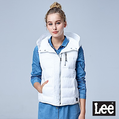 Lee 連帽舖棉背心/UR-白色