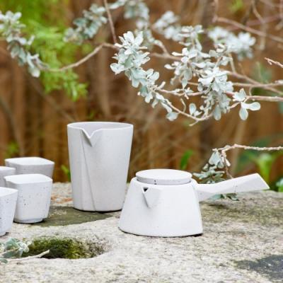 陸寶LohasPottery 許華山設計 飲隱山石-清水模灰(一壺一海六杯+菩提茶濾)