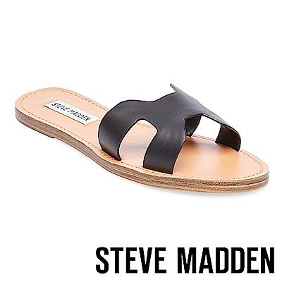 STEVE MADDEN-LISA 高質感皮革簍空涼鞋-黑色