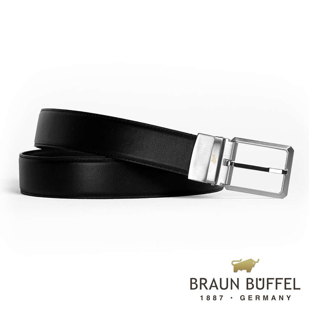 BRAUN BUFFEL - 極簡紳士品格穿針式皮帶 - 銀色