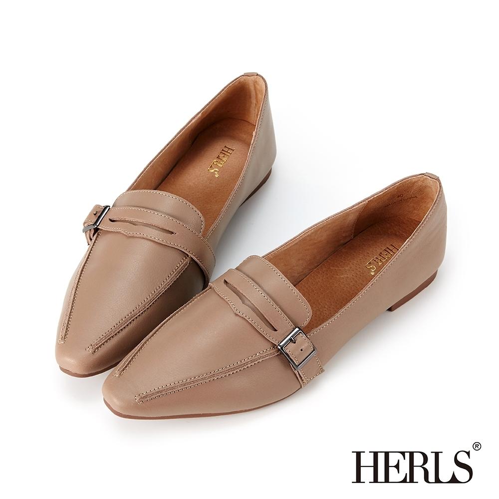 HERLS樂福鞋 全真皮便仕方釦平底樂福鞋 卡其灰