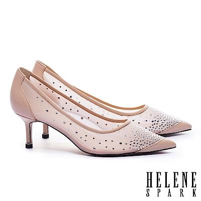 高跟鞋 HELENE SPARK 性感透膚晶鑽網紗羊皮尖頭高跟鞋-米