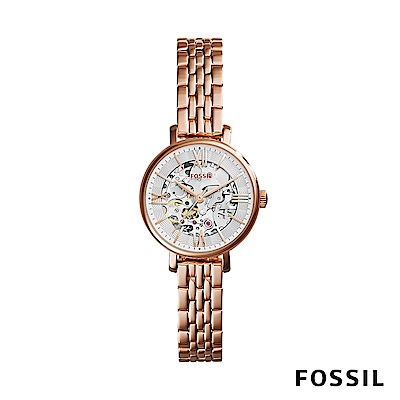 FOSSIL JACQUELINE 自動上鍊機械女錶-玫瑰金