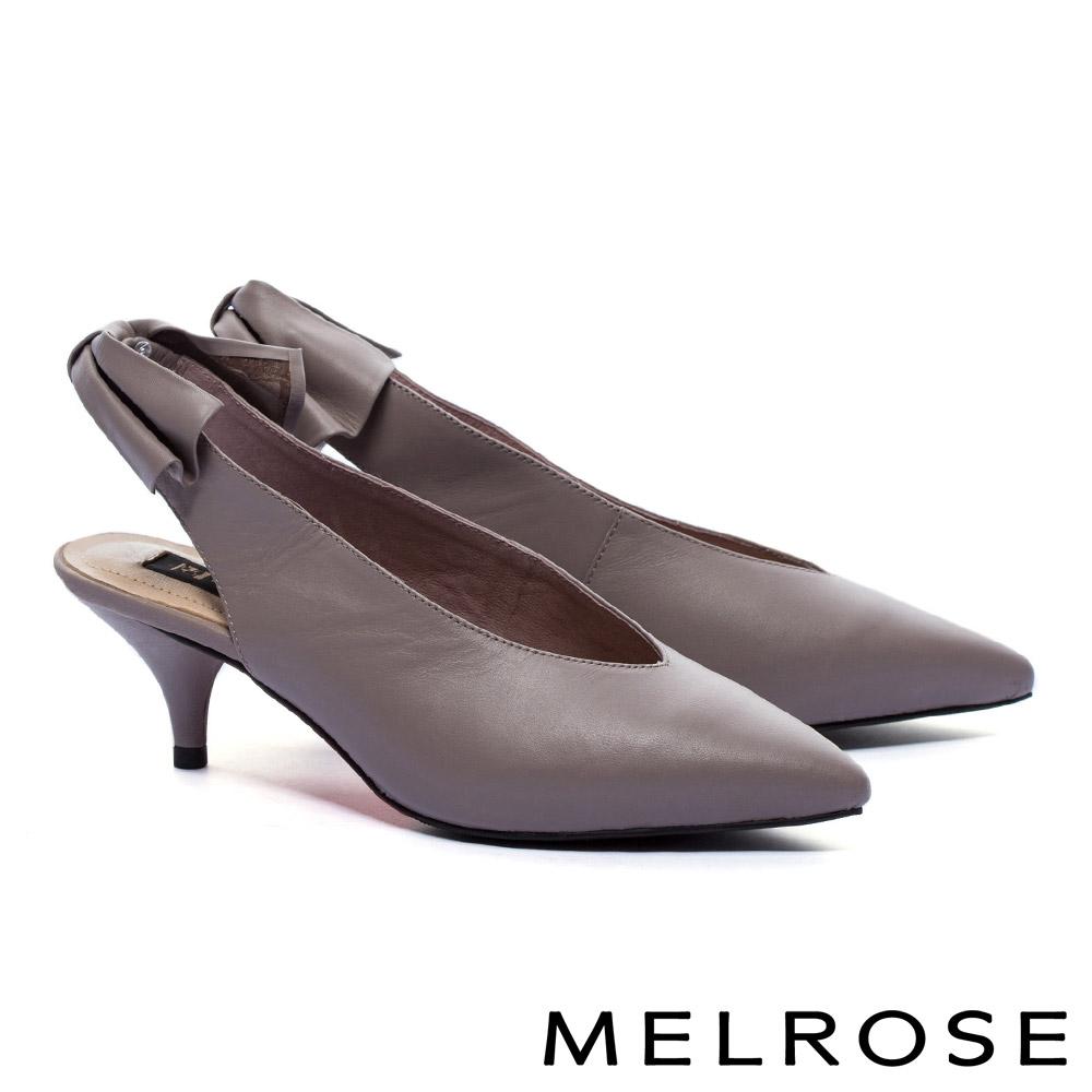 高跟鞋 MELROSE 質感率性蝴蝶結設計牛皮尖頭高跟鞋-棕