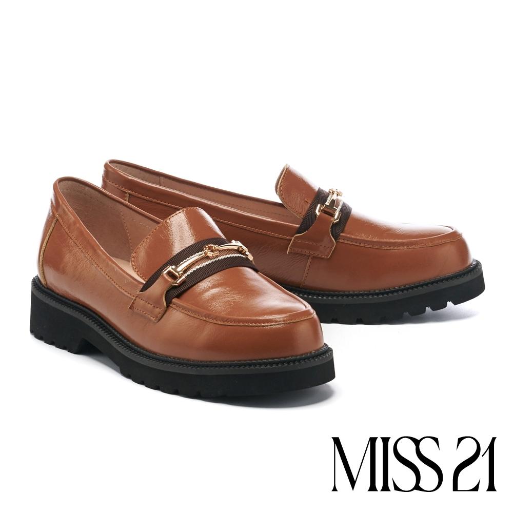 低跟鞋 MISS 21 英倫學院風馬銜釦織帶全真皮樂福厚底跟鞋-咖