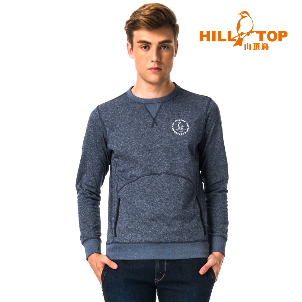 【hilltop山頂鳥】男款ZISOFIT吸溼快乾保暖刷毛上衣H51MH3麻花藍