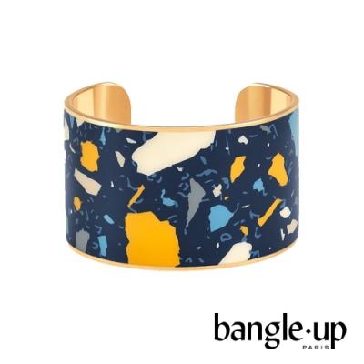 BANGLE UP 馬賽克宇宙琺瑯鍍金開口寬版手環 -深藍