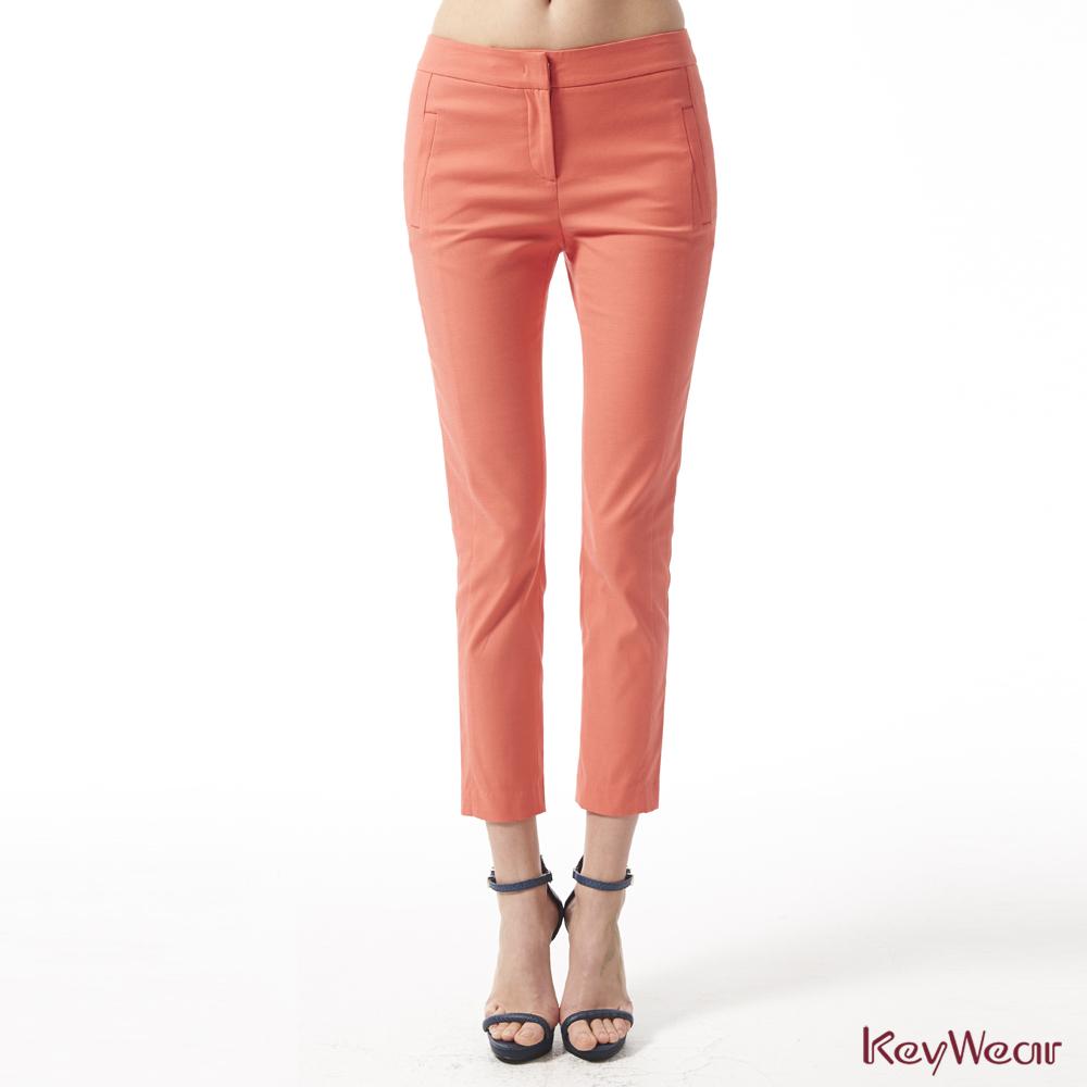 KeyWear奇威名品     時尚商務珊瑚橘硬挺九分褲-橘色
