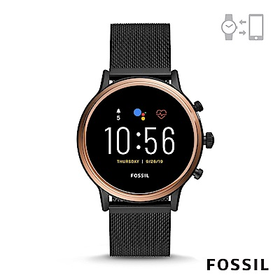 FOSSIL GEN 5智能錶茱莉安娜HR-黑色米蘭帶手錶44MM FTW6036
