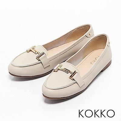 KOKKO - 簡約舒適真皮金屬釦莫卡辛休閒鞋-清爽米