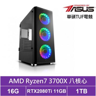 華碩B450平台[擎羊司令]R7八核RTX2080Ti獨顯電玩機