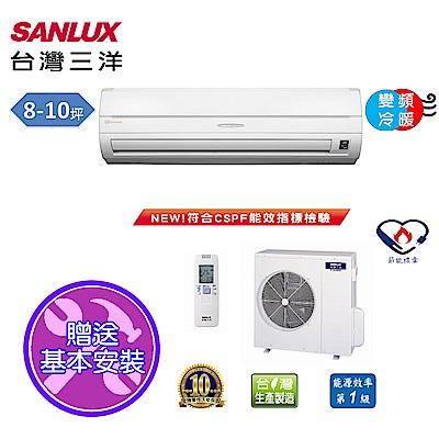 台灣三洋SANLUX 8-10坪精品變頻一對一冷暖SAE-50VH7/SAC-50VH7
