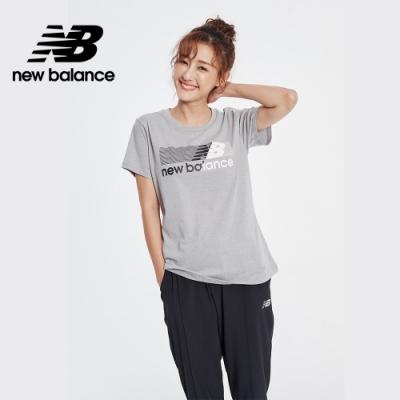 New Balance NB DRY 科技棉橫條Logo短袖上衣_女性_灰色_AWT01158HC