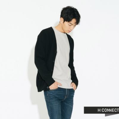 H:CONNECT 韓國品牌 男裝 - V領排扣口袋外套 - 黑