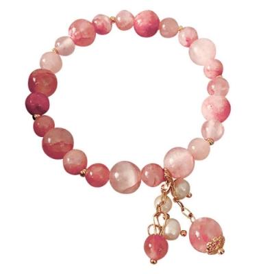 I.Dear飾品-網紅氣質款巴洛克天然珍珠粉嫩草莓晶串珠手鍊la250(粉色)