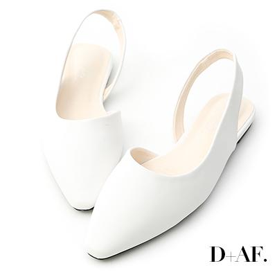 D+AF 春日首選.素面微尖頭後空平底鞋*白