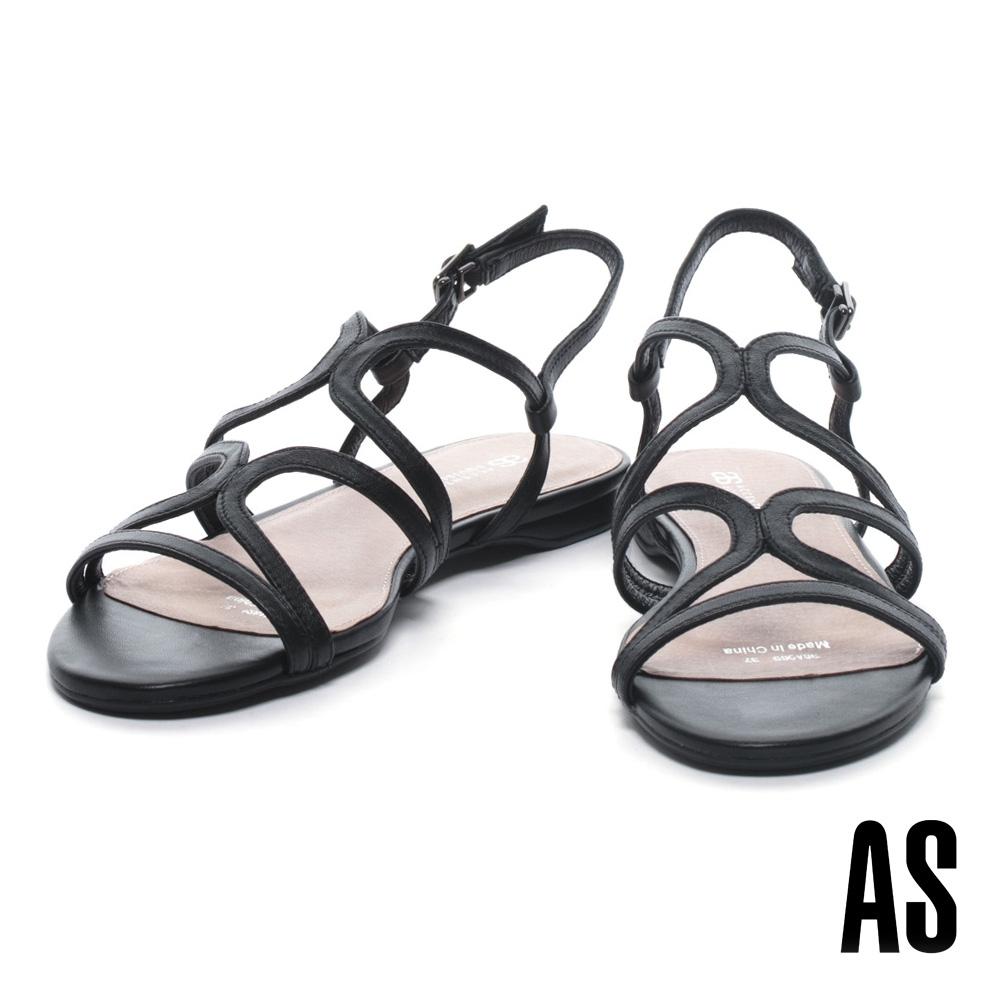 涼鞋 AS 簡約設計交叉繫帶純色低跟涼鞋-黑