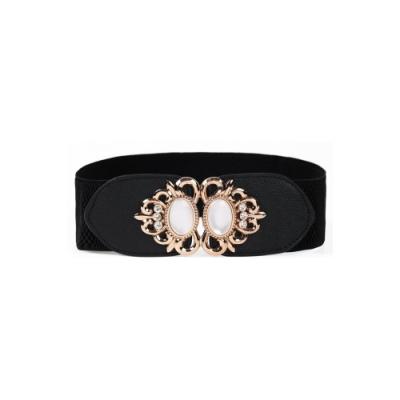 【狐狸姬】珠寶石甜美鬆緊寬腰帶皮帶(單腰封)